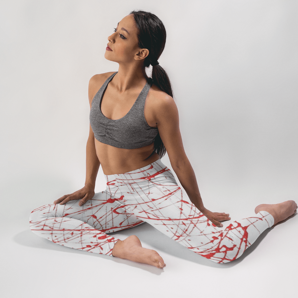 Urban Graffiti Red High-Waist Leggings - dianadu-designs