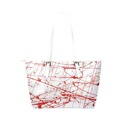 Urban Graffiti Red Leather Tote Bag
