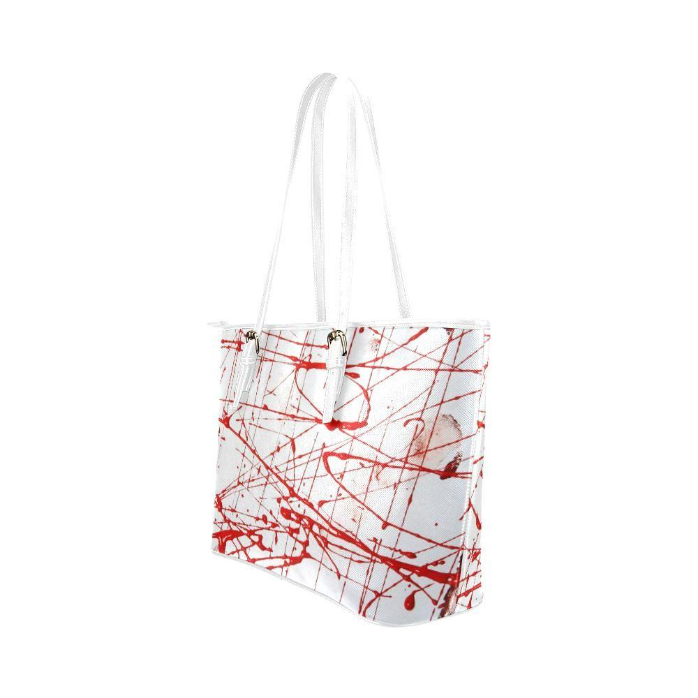 Urban Graffiti Red Leather Tote Bag - dianadu-designs