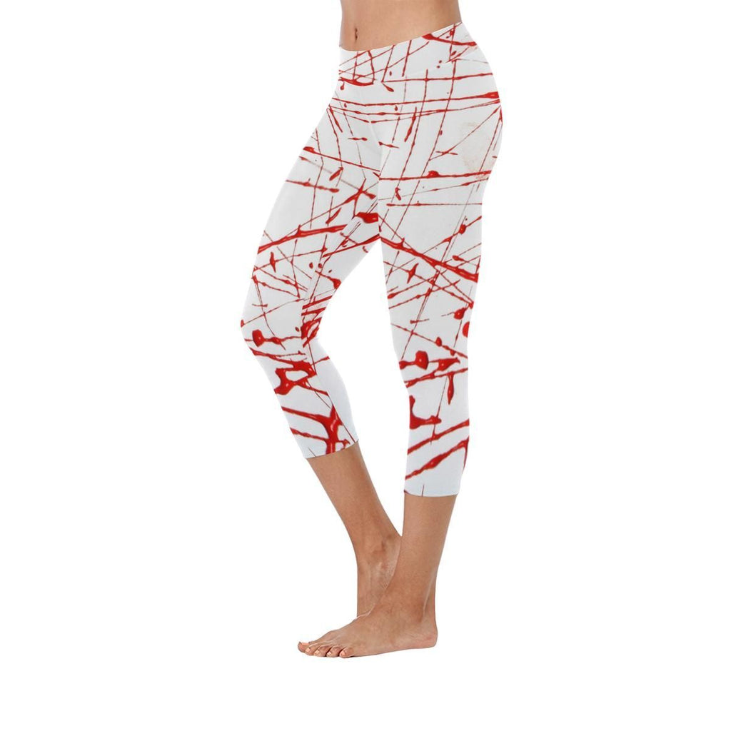 Urban Graffiti Red Low Rise Capri Leggings - dianadu-designs