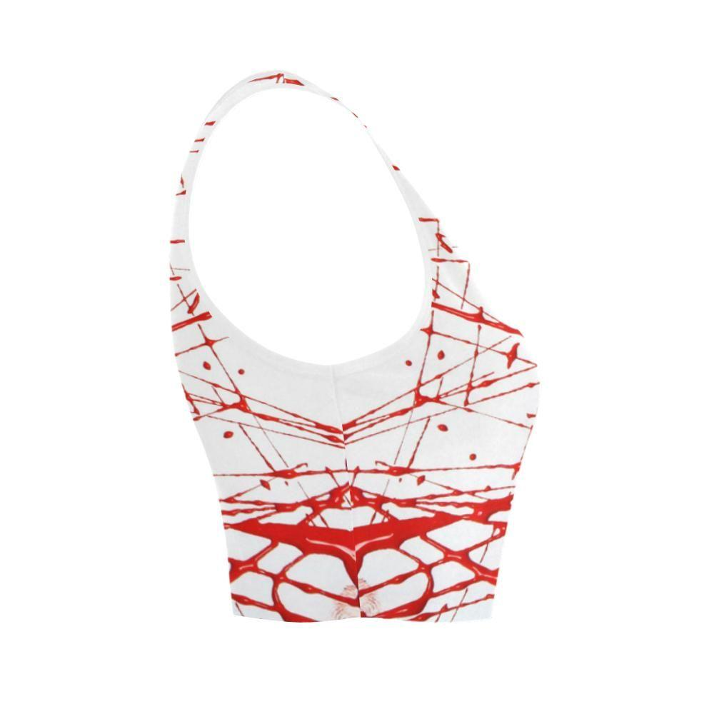 Urban Graffiti Red Women's Fitted Crop Top - dianadu-designs