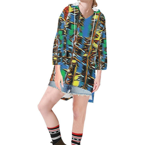 Urban Jungle Women's V-neck Step Hem Tunic Hoodie - dianadu-designs