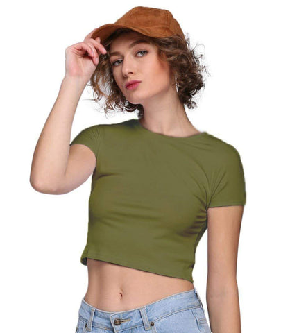 Women's Round Neck Crop Top Casual Solid Basic Tee - dianadu-designs
