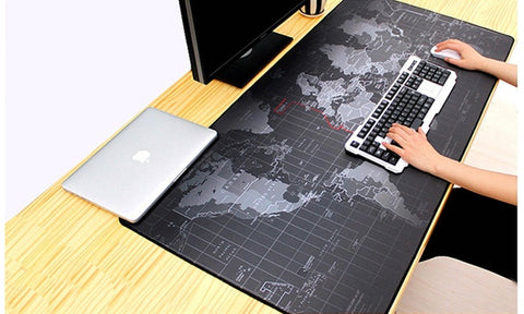 Large Full-Desk Coverage Mousepad With World Map Print