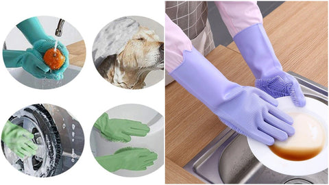 silicone scrubber gloves cleaning