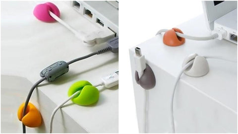 Desk cable and wire organizer clips