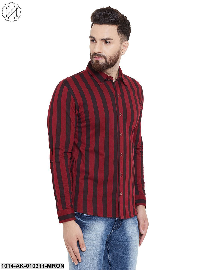 Maroon/Black Printed Regular Collar Shirt
