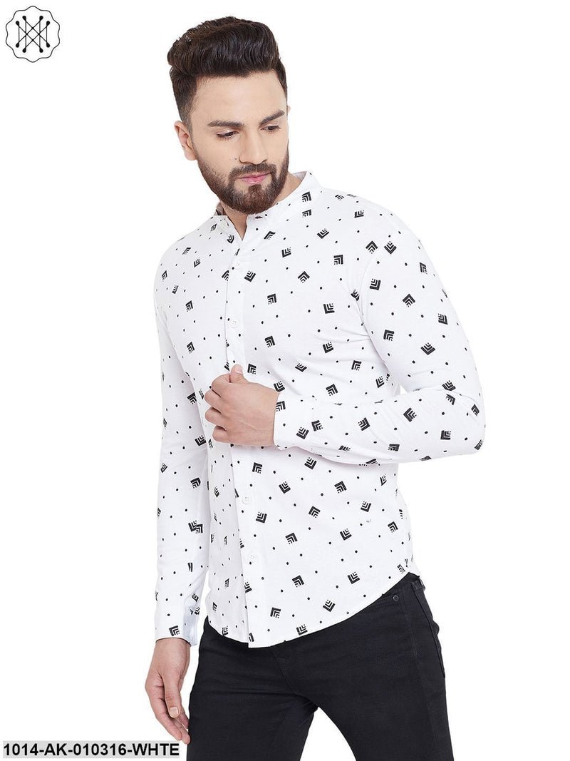 White Printed Chinese Collar Shirt