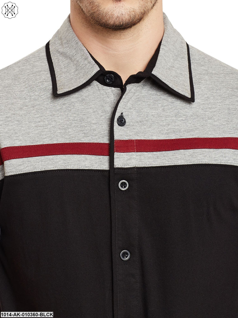 Blac/Grey Melange Solid Regular Collar Shirt