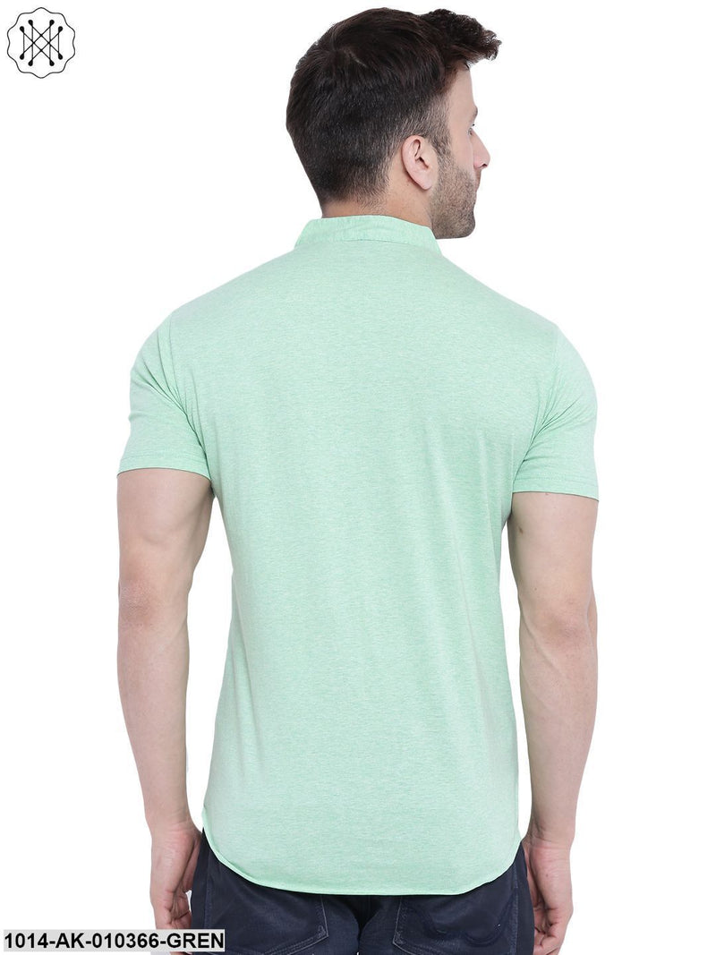 Light Green Solid Chinese Collar Shirt