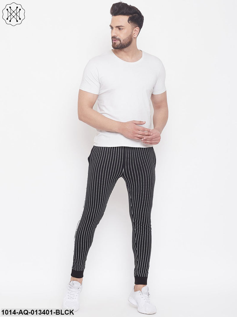 Gritstones Black Slim Fit Striped Joggers With Contrast Taping