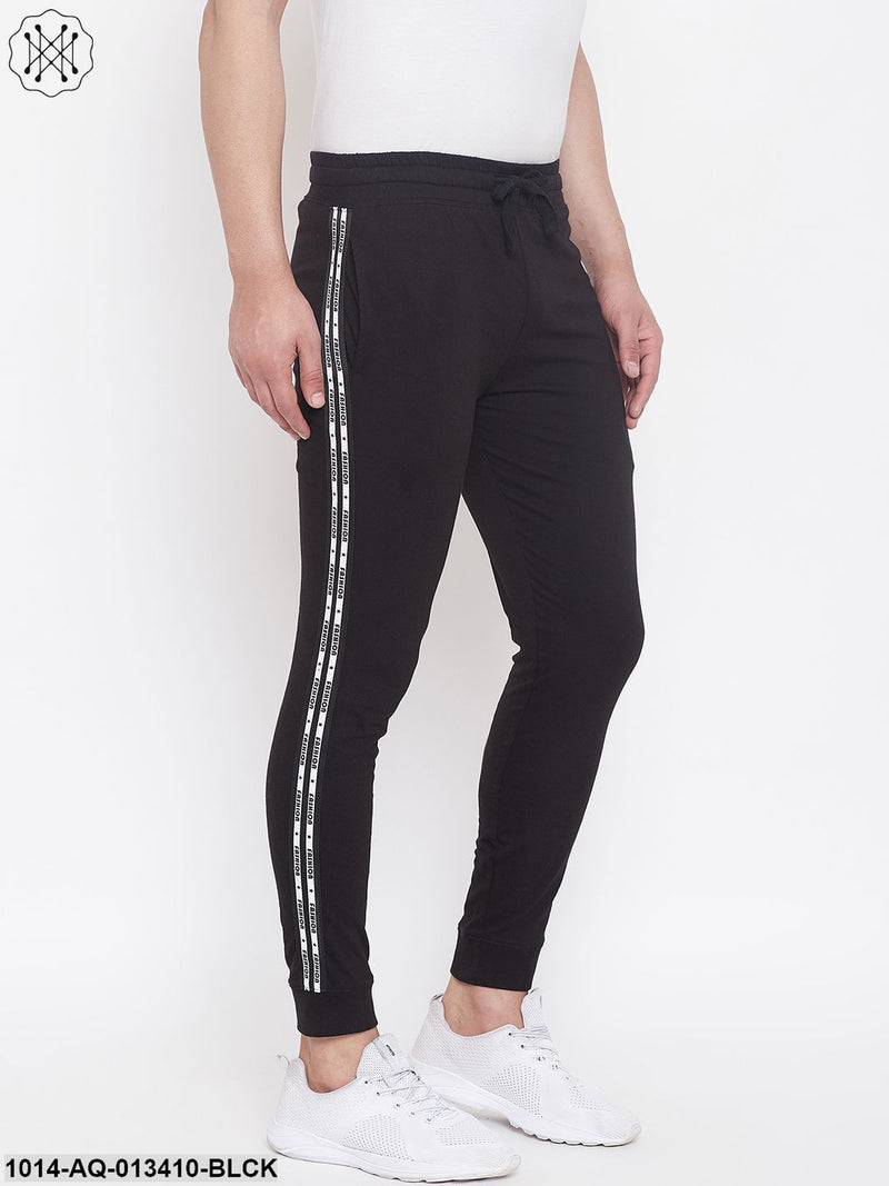 Gritstones Black Slim Fit Joggers With Side Taping