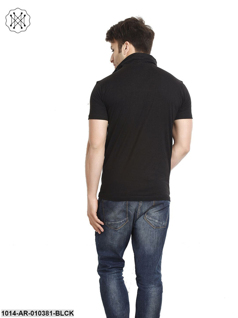 Black Solid High Neck T-Shirt