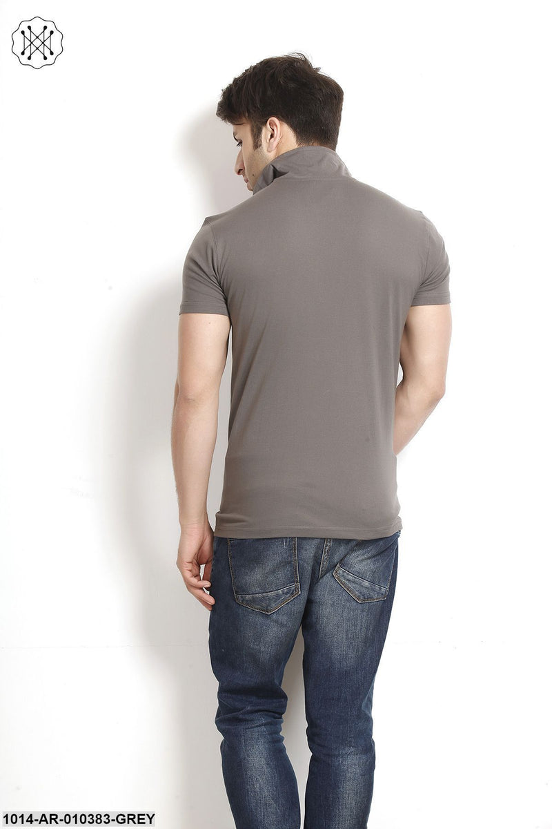 Steel Grey  Solid High Neck T-Shirt