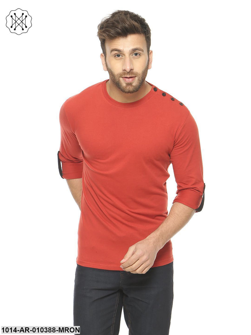 Rust /Black Solid Round Neck T-Shirt