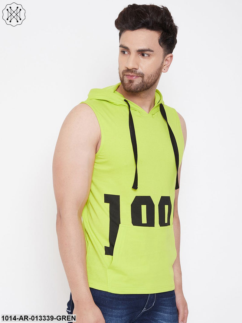 Gritstones Neon Green Men's Cotton Gym Hooded Printed Sleeveless T-Shirt
