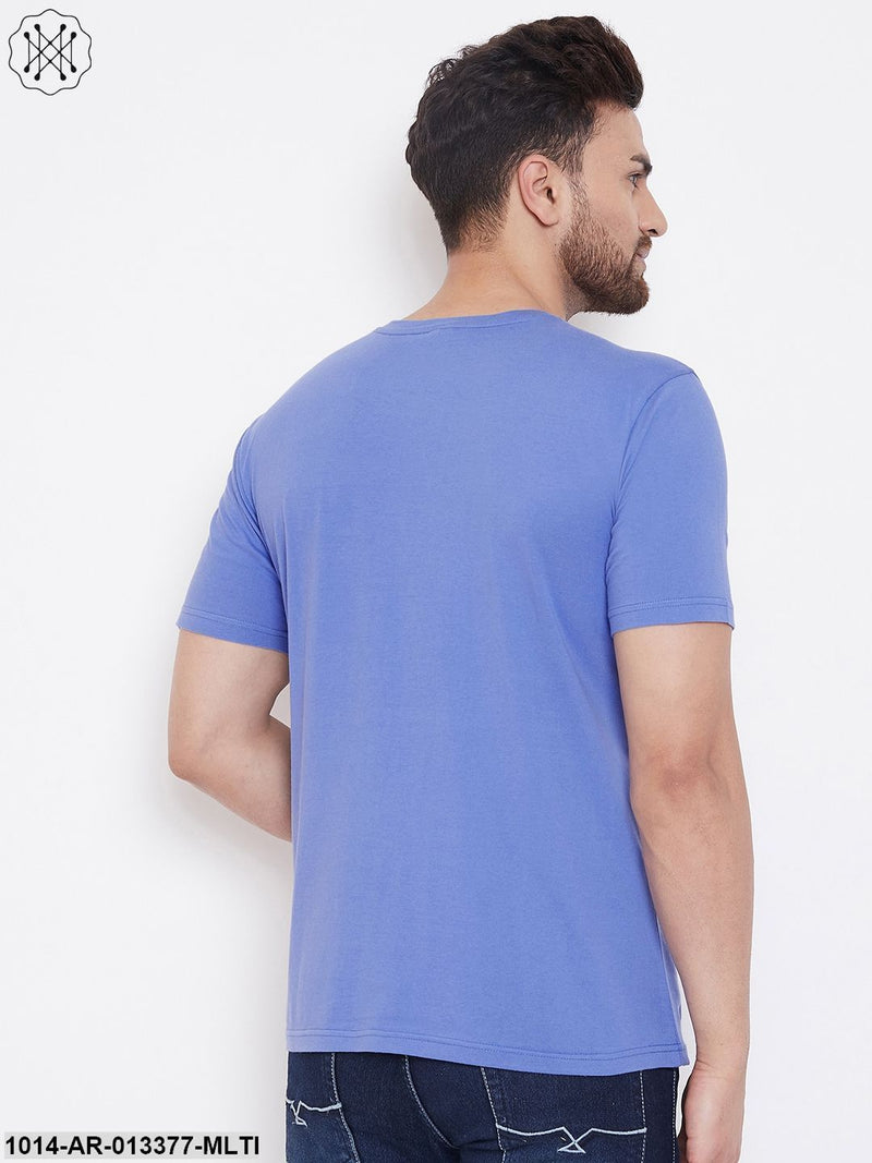 Gritstones Blue/Black Men's Half Sleeves Round Neck T-Shirt