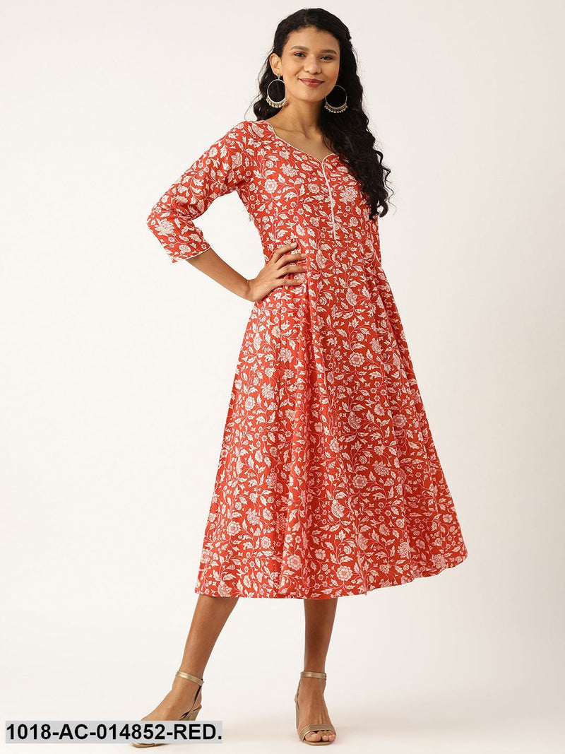 Red Floral Sweetheart Neck Flared Midi Dress