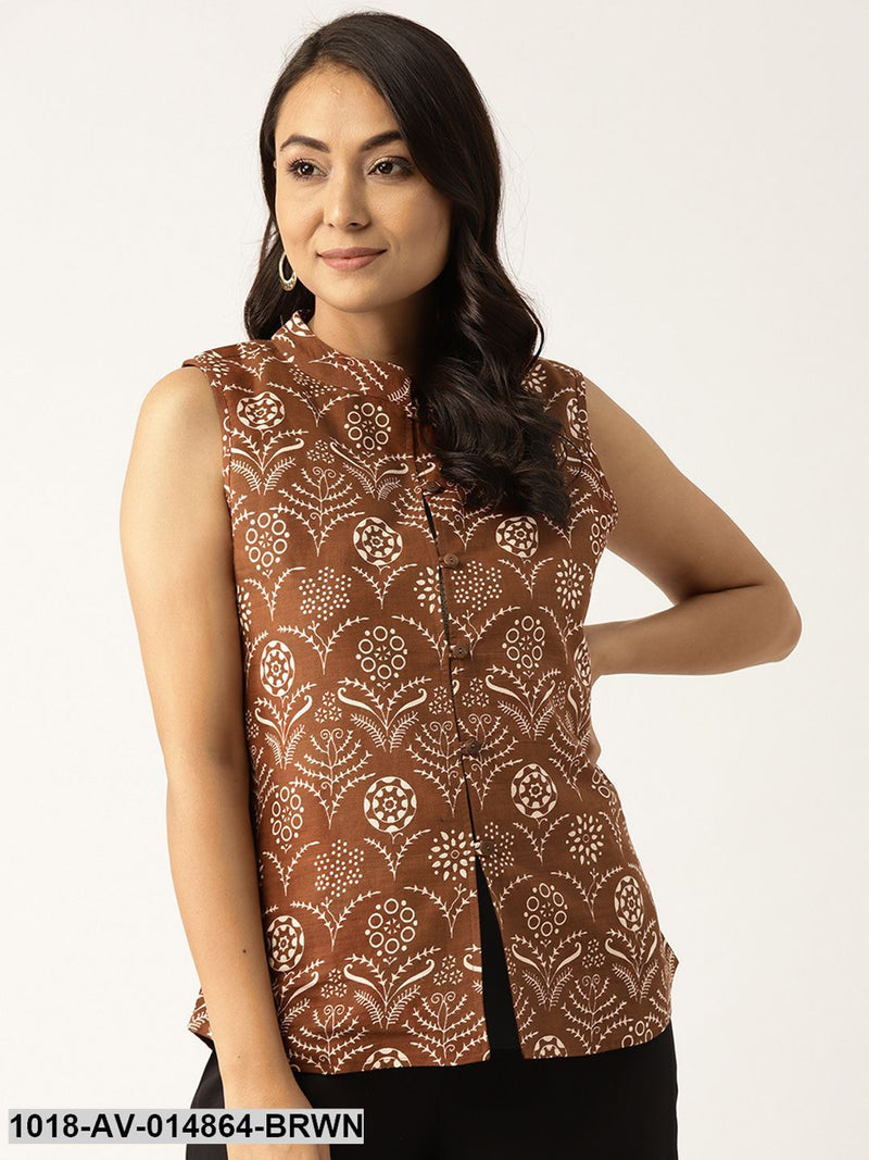 Brown Floral Sleeveless Indie Jacket