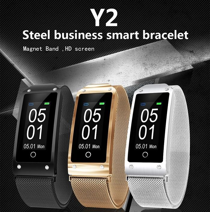 Y2 Smart Fitness Smart Watch with Stylish Steel Strap - TrendiaStore