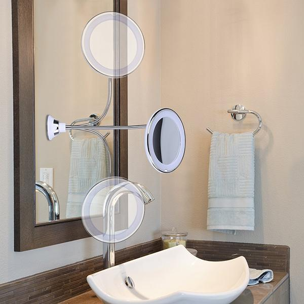 10x-Magnifying Vanity Mirror With Lights, 360° Rotation & Suction Cup - TrendiaStore