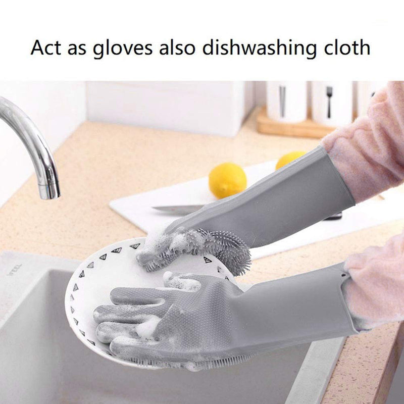 Kitchen and Multipurpose Silicone Cleaning Gloves (Pair) - TrendiaStore
