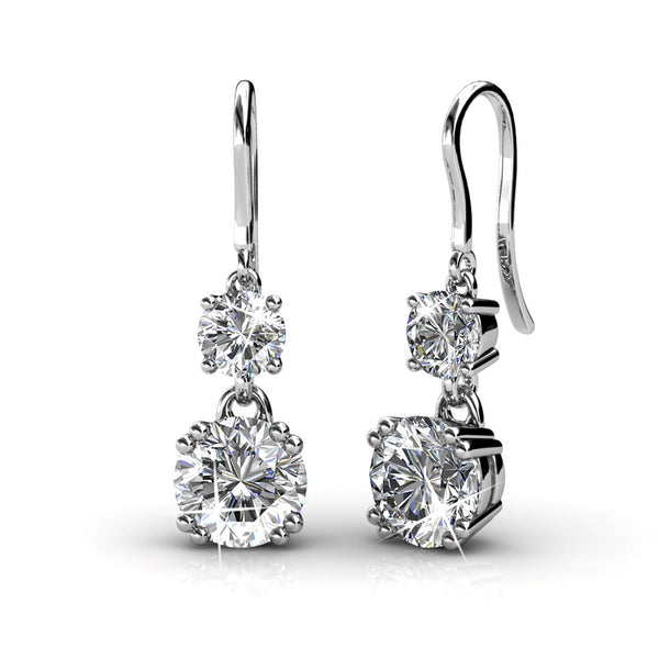 'Diana Twin-Tilets' Double Solitaire Earrings - TrendiaStore