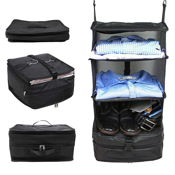 Closet Hanging Travel Organizer Bag With 3 Mesh Storage Shelves - TrendiaStore