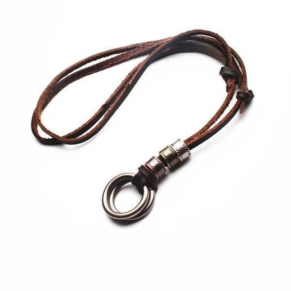 Handmade Genuine Leather Male Double Loop Pendant - TrendiaStore
