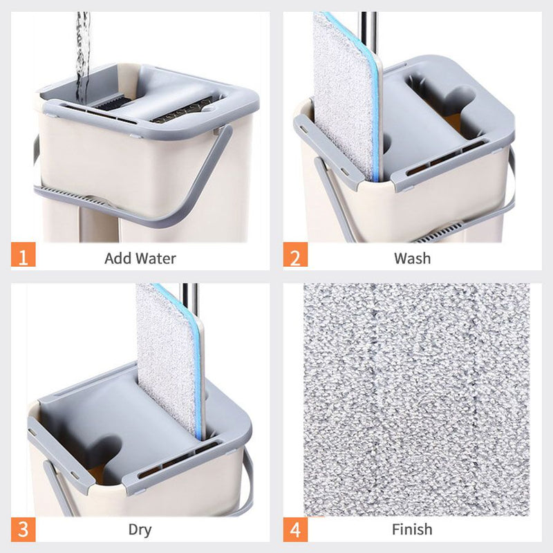 Microfiber Flexible Flat Mop with Rinse Bucket With Bottom Drainage Hole| Better Than Spin Mop - TrendiaStore