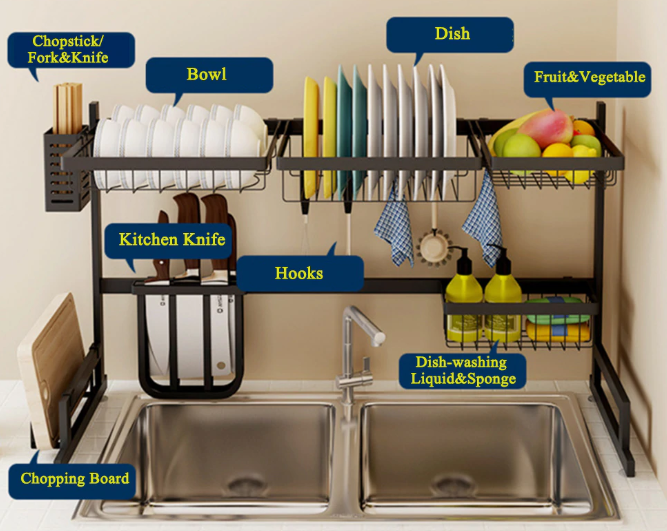 Stainless Steel Over The Sink Dish Drying Rack 65cm/85cm