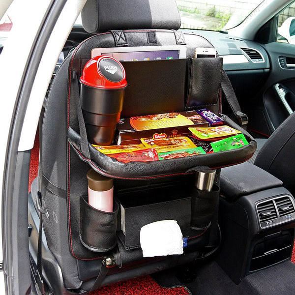 Leather Car Back Seat Organizer With Pull-Out Tray And Multiple Pockets - TrendiaStore