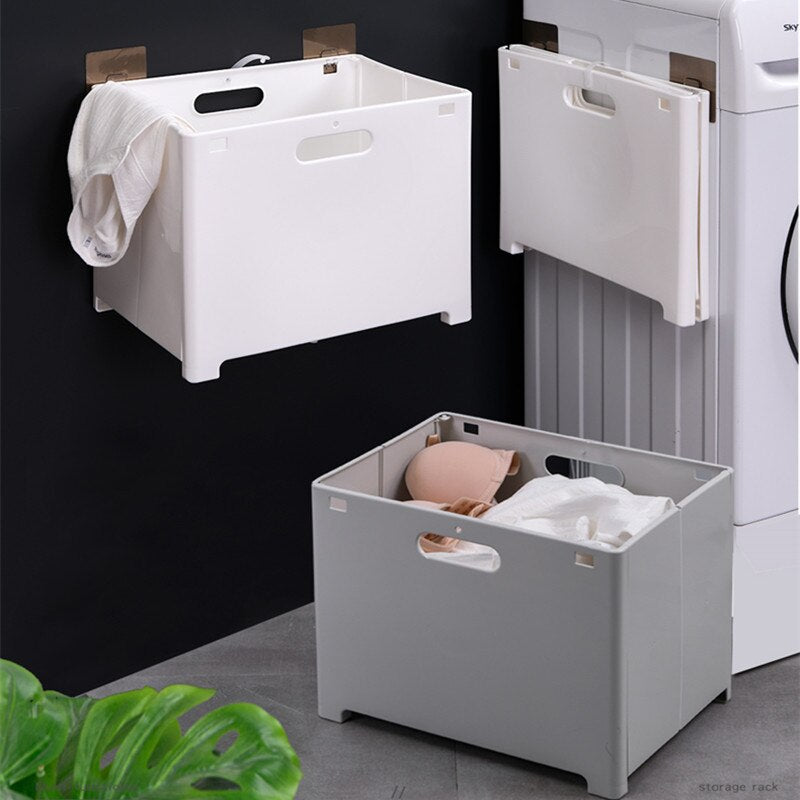 Punch-free Folding Bathroom Wall Hanging Laundry Storage Basket