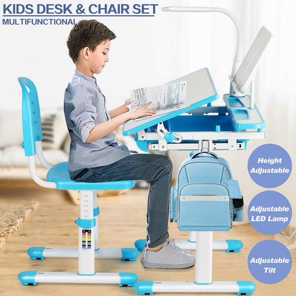 Kids' Height Adjustable Ergonomic Study Desk With Chair & Lamp