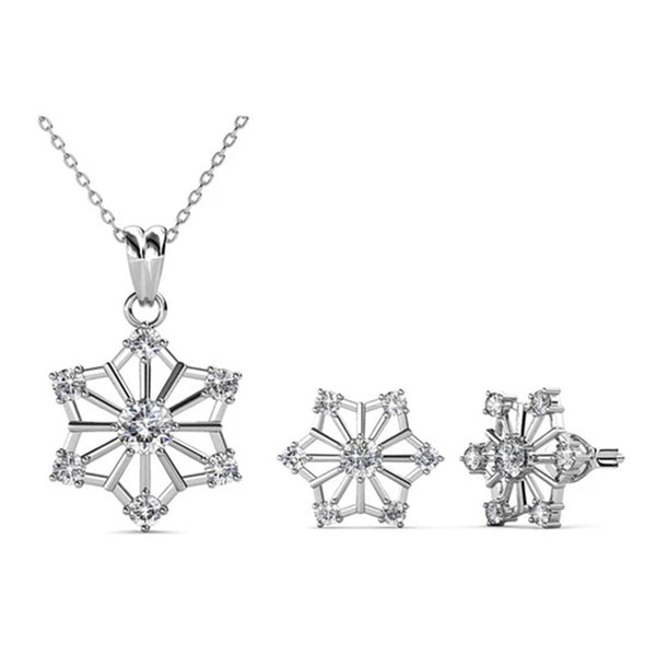 'Arctic Snow Flake' Earrings-Necklace Set - TrendiaStore