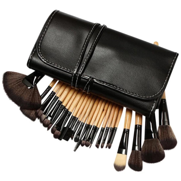 Makeup Brush Kit 24 Piece with Vegan-Leather Case