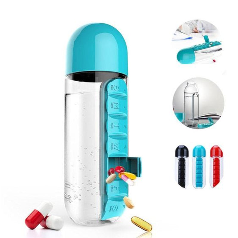Water bottle with pills box