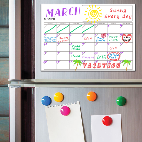 Erasable Fridge Magnet Calendar Organizer For Grocery Lists, Notes, Week Planning - TrendiaStore
