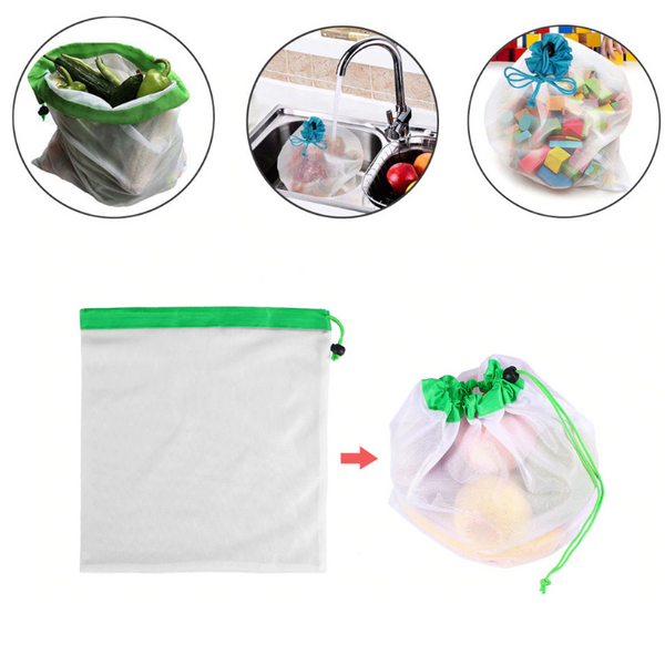 Pack of 4 Multi-Purpose Reusable Mesh Fridge Storage Bags - TrendiaStore
