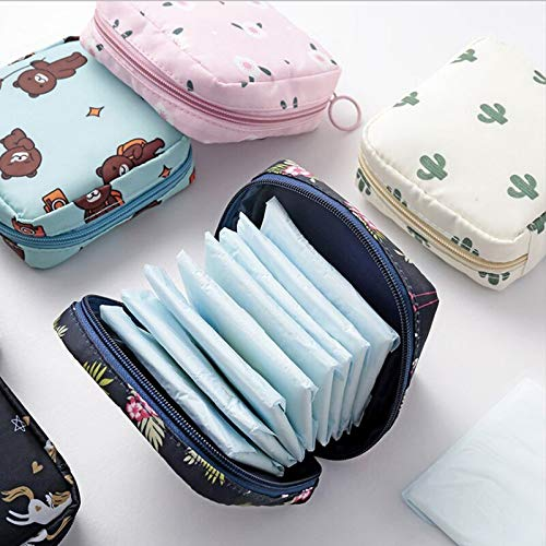 Sanitary Napkins Bag Zipper Tampons Collect Bags Pouch Organizer Holder for Women and Girls - 2 Pack