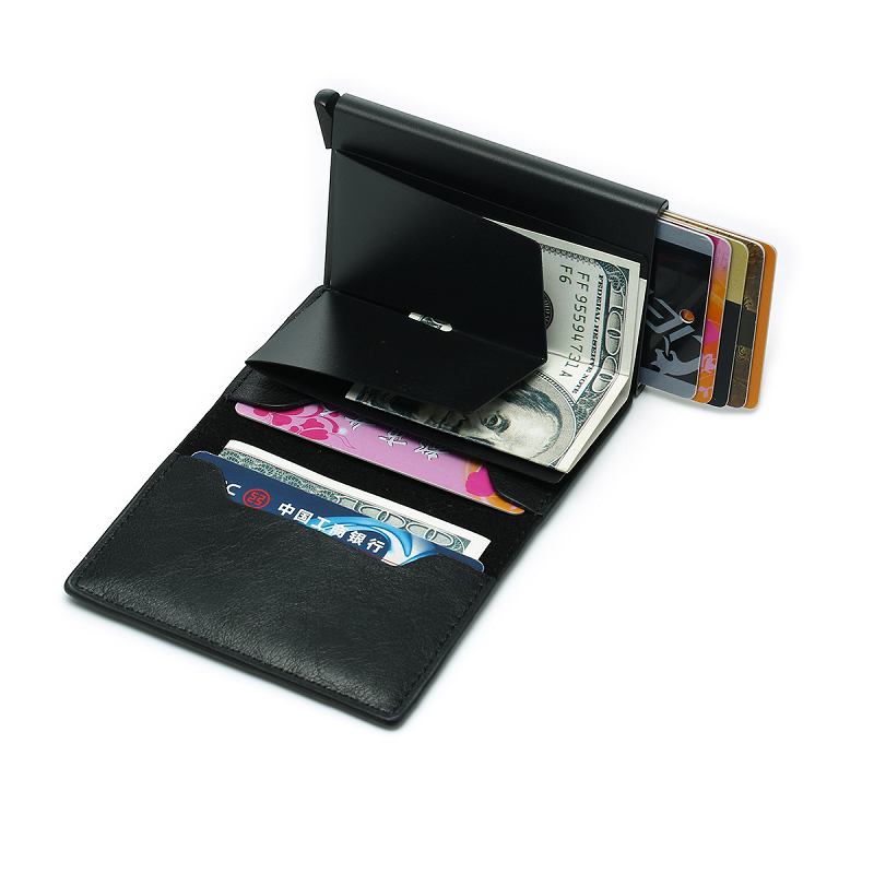 Compact RFID Anti Data-Theft Leather Wallet - Unisex - TrendiaStore