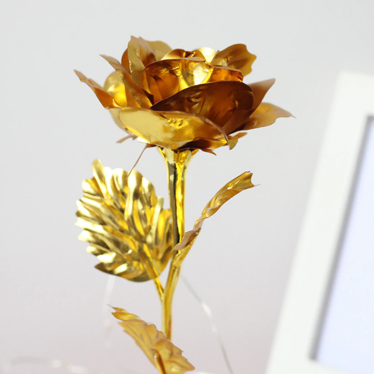 Gold Plated LED Rose in a Glass Dome - TrendiaStore