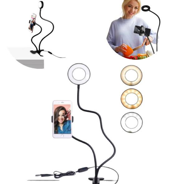 Desk Clip-On Mobile Phone Holder With Selfie Light Ring - TrendiaStore