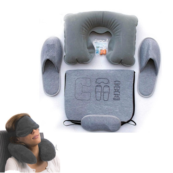 4-Pcs Flight Travel Kit (Inflatable Neck Pillow, Slippers, Eye mask and Ear plugs) - TrendiaStore