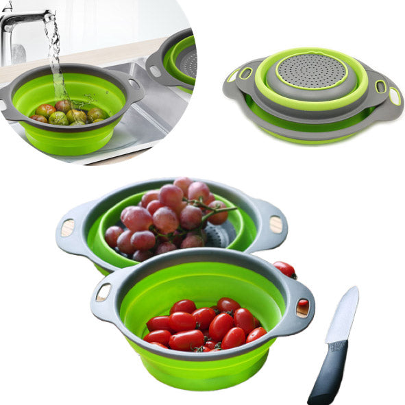 2-Pcs Collapsible Strainer, Salad Bowl And Multipurpose Holder: Silicone - TrendiaStore