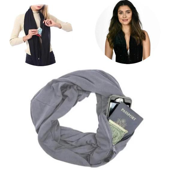 Infinity Travel Scarf With Hidden Pocket For Passport, Cash or Mobile Phone - TrendiaStore