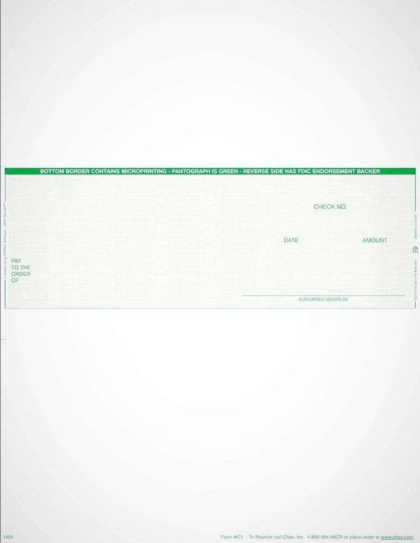 C2 - BUSINESS LASER CHECKS - ECONOMY VALUE MIDDLE CHECKS (GREEN) - 100/PACK - Check Papers - CHAX SOFTWARE INC