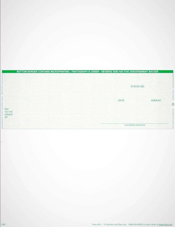 C1 - BUSINESS LASER CHECKS - ECONOMY VALUE MIDDLE CHECKS (GREEN) - 500/PACK - Check Papers - CHAX SOFTWARE INC