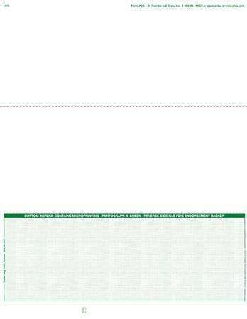 C5 - BUSINESS LASER CHECKS - ECONOMY VALUE BOTTOM CHECKS (GREEN) - 500/PACK - Check Papers - CHAX SOFTWARE INC