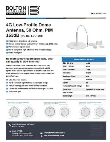 4G Mount Dome Antenna Spec Sheet